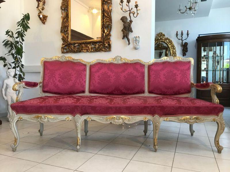 Prächtiges Sofa Couch Diwan Barockstil Seidenbezug Gold W1860