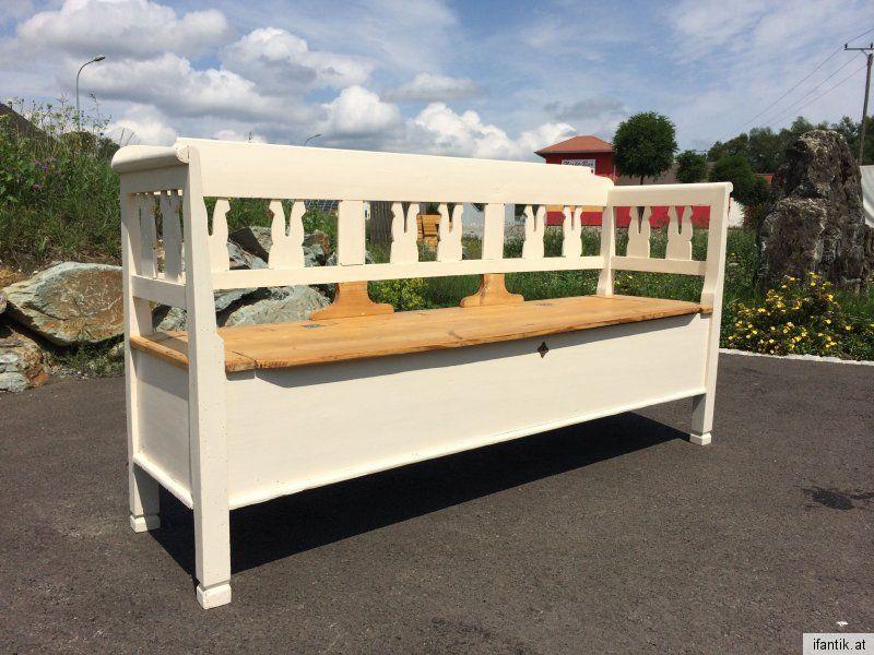 Urige alte Truhe Sitztruhe Küchenbank Sitzbank Naturholz Fichte Truhenbank weiß