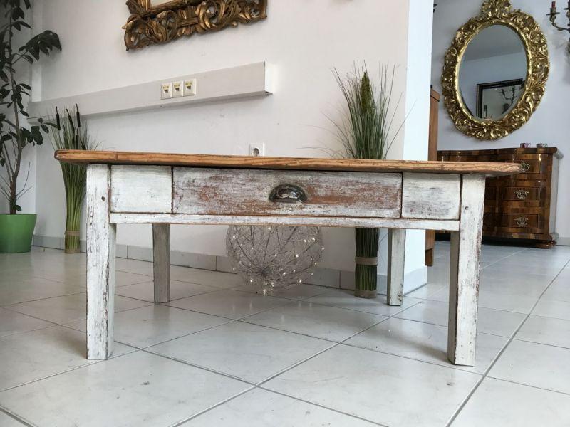 Uriger Bauerntisch Beistelltisch Tisch Altholz Couchtisch W2031 0