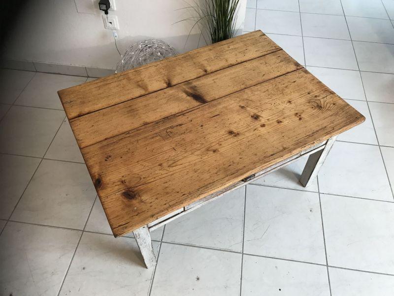 Uriger Bauerntisch Beistelltisch Tisch Altholz Couchtisch W2031 3
