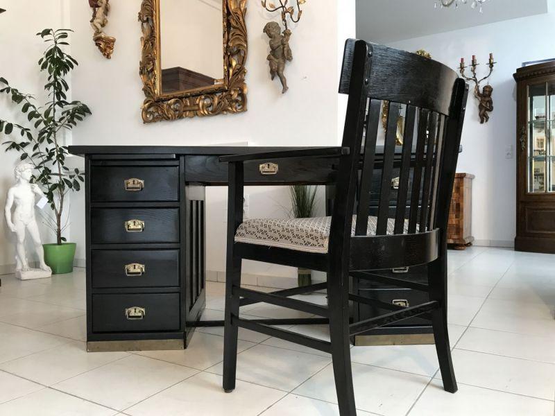 Originaler Jugendstil Sekretär Freisteher Schreibtisch Stuhl W2056