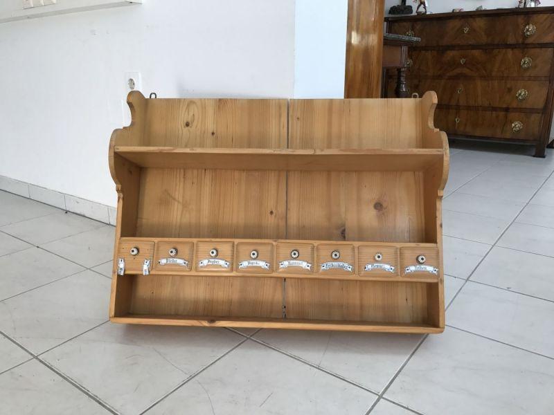 Urige Stellage Bücherstellage Regal Ablage Naturholz Gewürzboard W2232