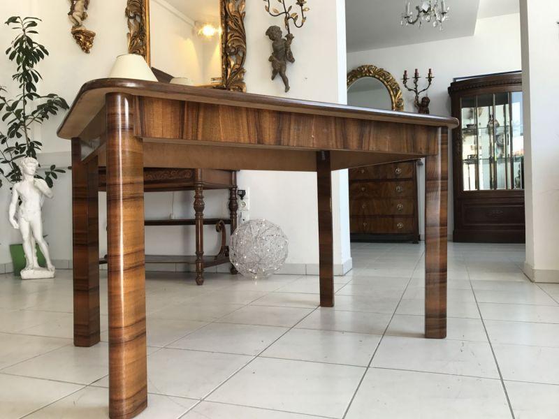 Hübscher Art Deco Jugendstil Esszimmertisch Tisch Nussholz - W2225