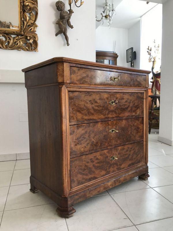 Antike Biedermeier 4 Laden Kommode Ladenschrank Nussholz - W2235