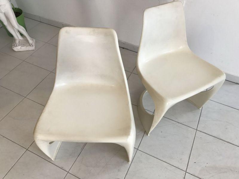 paar design st hle lounge sessel aus wei em kunststoff im stil w2206 nr 401400518262 oldthing. Black Bedroom Furniture Sets. Home Design Ideas
