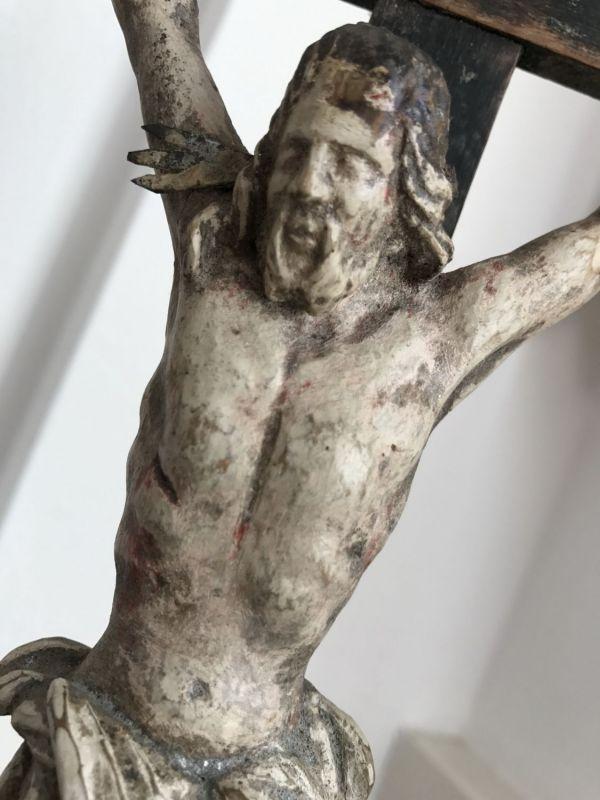 Standkreuz Kruzifix Dreinageltypus Memento Mori INRI geschnitzt & gefasst 19.Jh