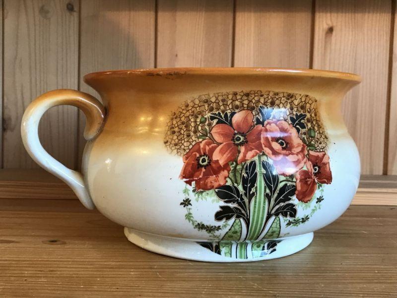 Keramik Nachttopf mit Floraldekor Jugendstil Arts & Crafts England ~1900 W3035
