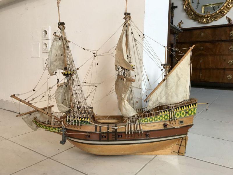 Modell Segelschiff Holzschiff 2-Master Maritim 72 x 82 x 19 cm Großbritannien W3