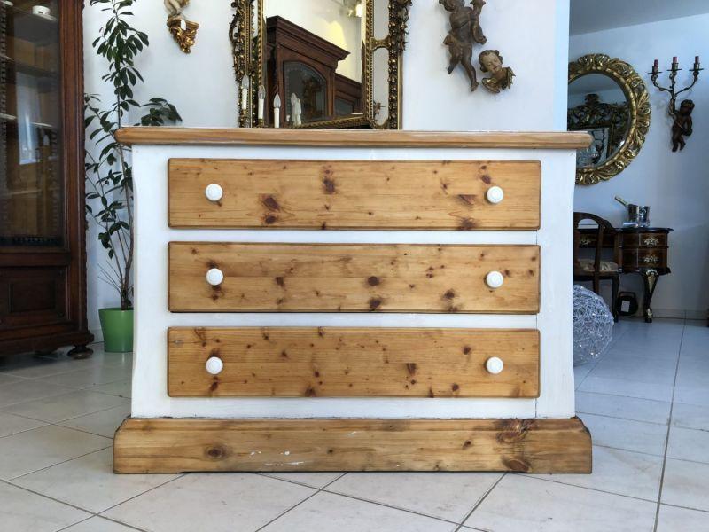 Bäuerliche Kommode Ladenschrank Sideboard Naturholz Fichte weiß X1159