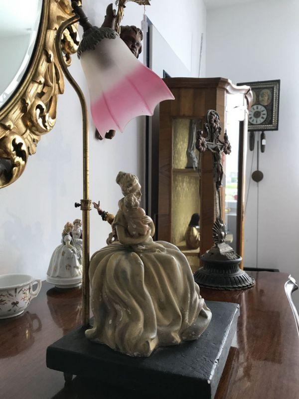 Antike Porzellan Stehleuchte Lampe Frau mit Kind Tischlampe W3109