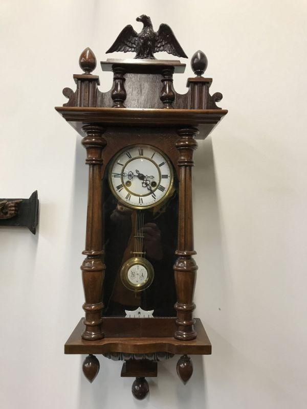Wiener Historismus Regulator Federzuguhr Wandpendeluhr - W3119