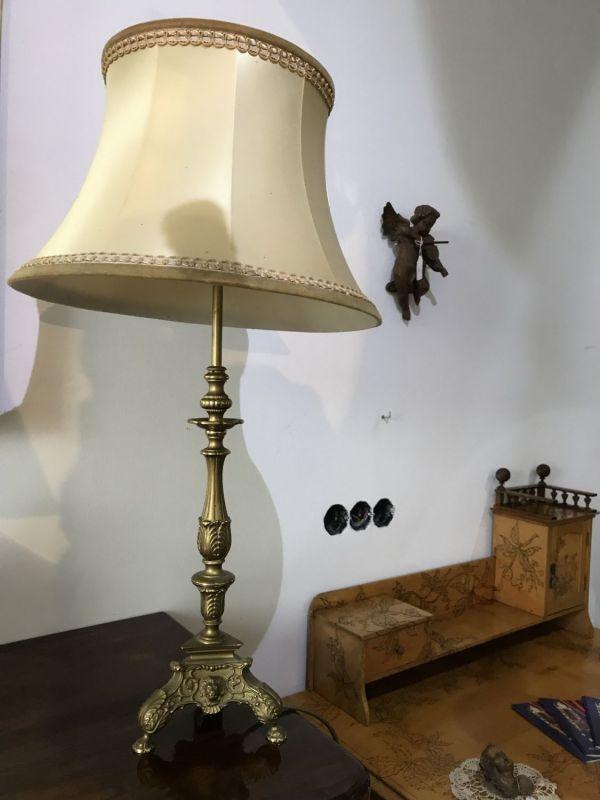 Messing Stehlampe Antikstil barockartig Klassizismus Tischlampe W3077
