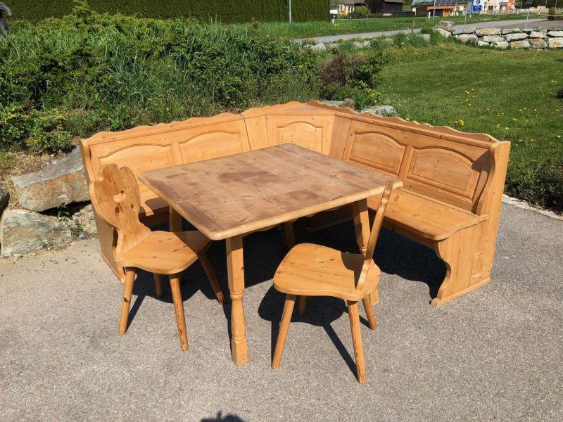 Hübsche Eckbankgruppe Jogltisch Sessel Bauernstube Naturholz X1551