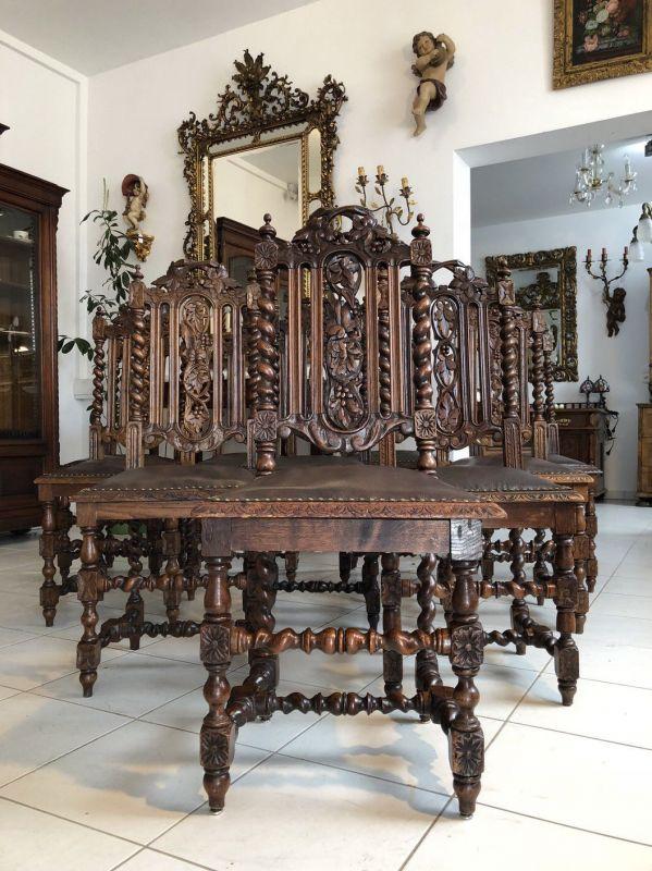 Originale 10 Ritterstühle Säulenstühle Sessel Historismis X1339