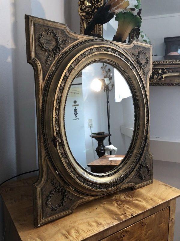 Ovaler  Biedermeier Spiegel Holzspiegel original X1609