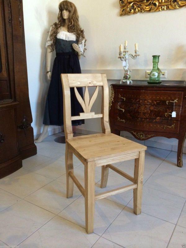 Biedermeier Bauernsessel Stuhl Fichtenholz 1 Stück Nr. 6985
