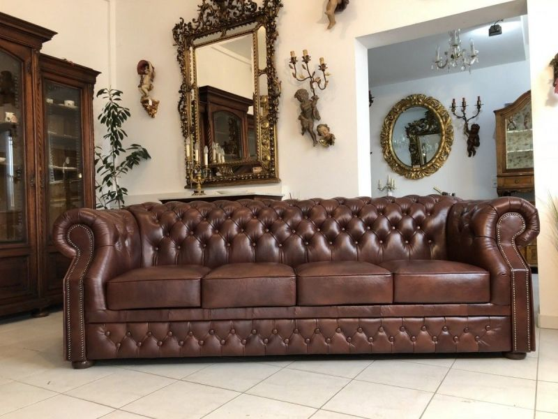 Chesterfield Clubsofa Diwan Couch Oxblood Antik Braun - X1174