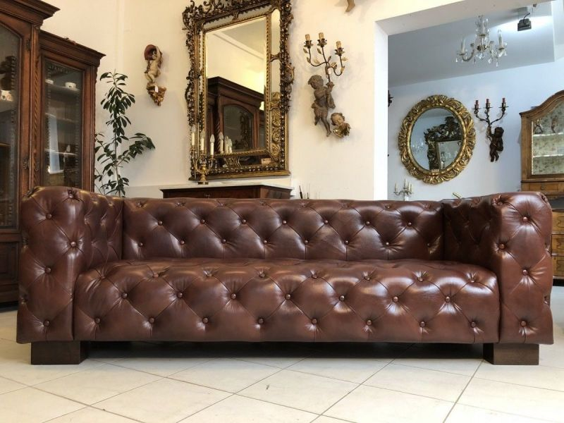 Chesterfield Cube Clubsofa Diwan Couch Oxblood Antik Braun - X1177
