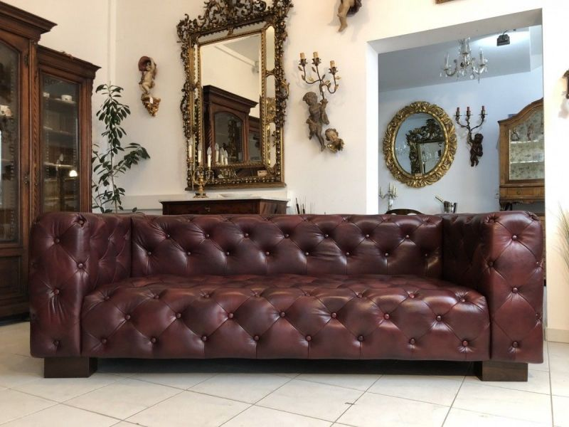 Chesterfield Cube Clubsofa Diwan Couch Oxblood Antik Rot - X1178