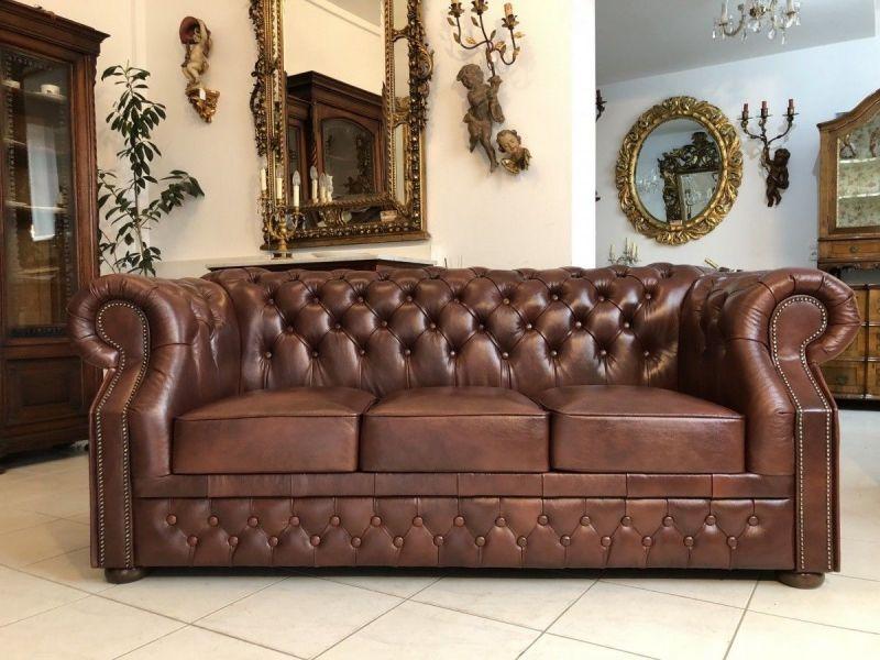 Chesterfield 3er Clubsofa Diwan Couch Oxblood Antik Braun -X1176