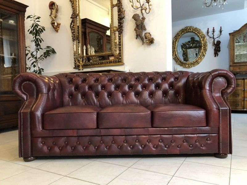 Chesterfield 3er Clubsofa Diwan Couch Oxblood Antik Rotbraun -X1175 0