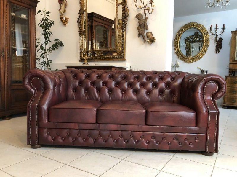 Chesterfield 3er Clubsofa Diwan Couch Oxblood Antik Rotbraun -X1175 1
