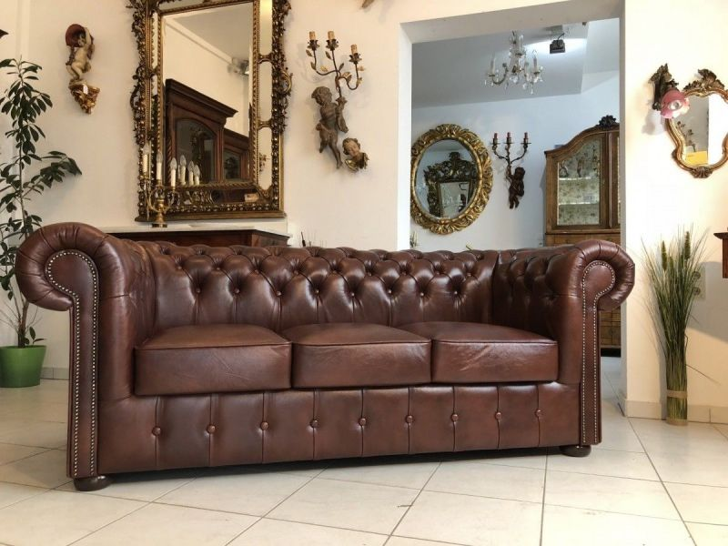 Chesterfield 3er Clubsofa Diwan Couch Oxblood Antik Rot-X1181