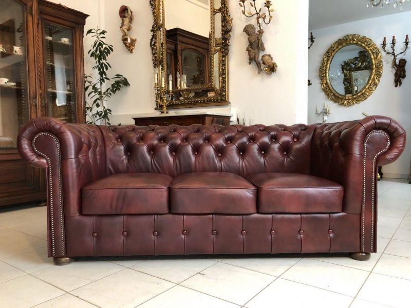 Chesterfield 3er Clubsofa Diwan Couch Oxblood Antik Rotbraun -X1179