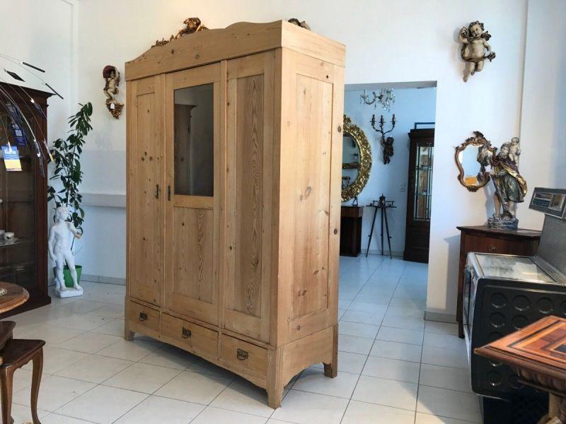 Gründerzeit Garderobenschrank Naturholz Kleiderschrank W1861