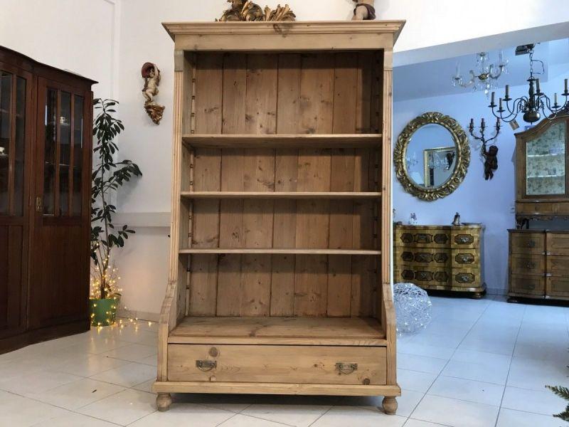 Altes Bücherregal Stellage Gründerzeit Bücherschrank Naturholzmöbel Fichte- W345
