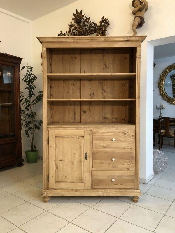 Bäuerlicher Küchenschrank Naturholz Fichtenholz Stellage Ladenschrank X1213
