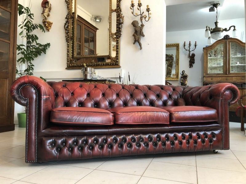 Chesterfield Clubsofa Diwan Couch Oxblood Antik Rot Oxblood - X1784