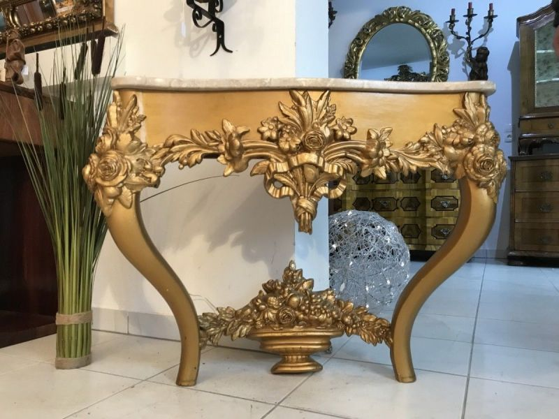 Wunderschöne vergoldete Konsole Podest Barockonsule Marmorplatte  W3482
