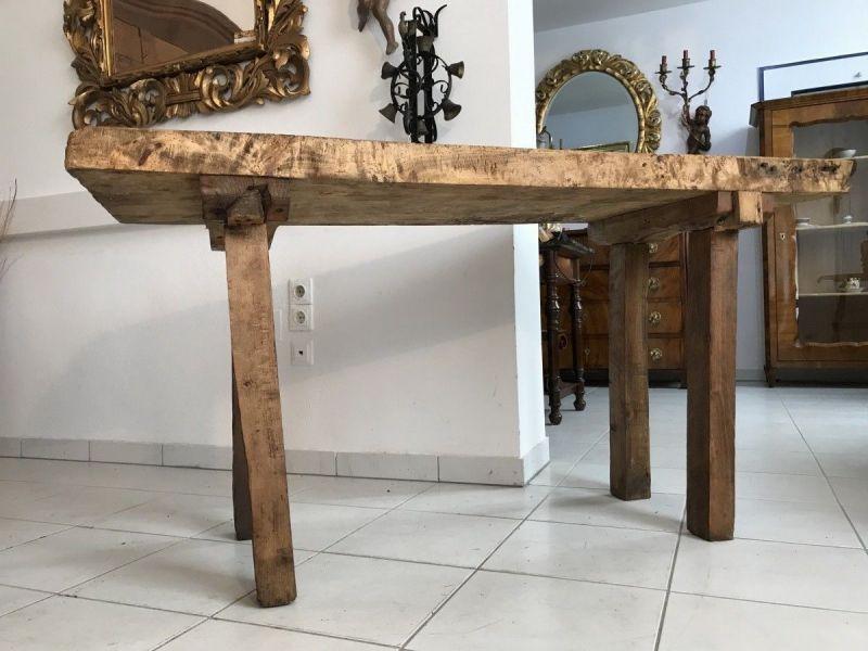 Massiver  Hacktisch Designer Tisch Bauerntisch Hüttentisch W3261