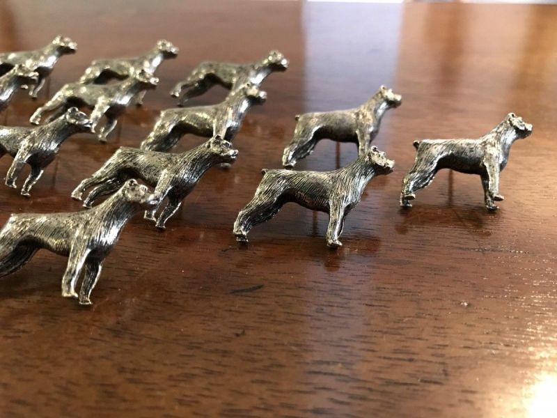 Figürliche Anstecknadel Metall Pin Brosche Hundeform Boxer 17-tlg - W1343 1
