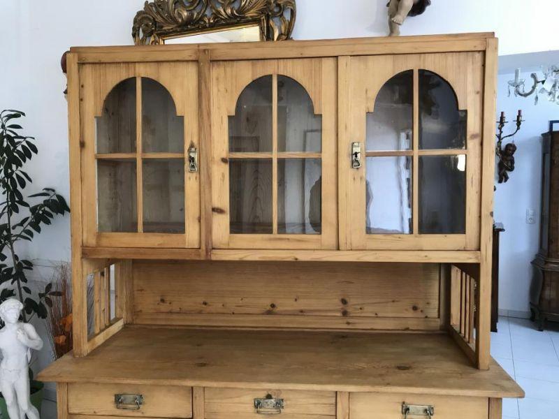 Jugendstil Küchenschrank Naturholz Fichtenholz - Kredenz W3055 4