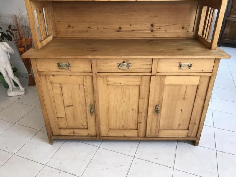 Jugendstil Küchenschrank Naturholz Fichtenholz - Kredenz W3055 5