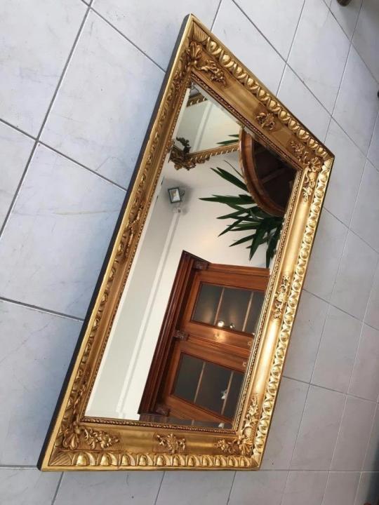 Biedermeier Ochsenaugen Spiegel Rahmen um 1845 23k vergoldet A1625 1