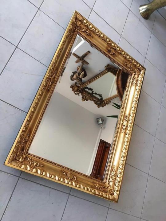 Biedermeier Ochsenaugen Spiegel Rahmen um 1845 23k vergoldet A1625 2