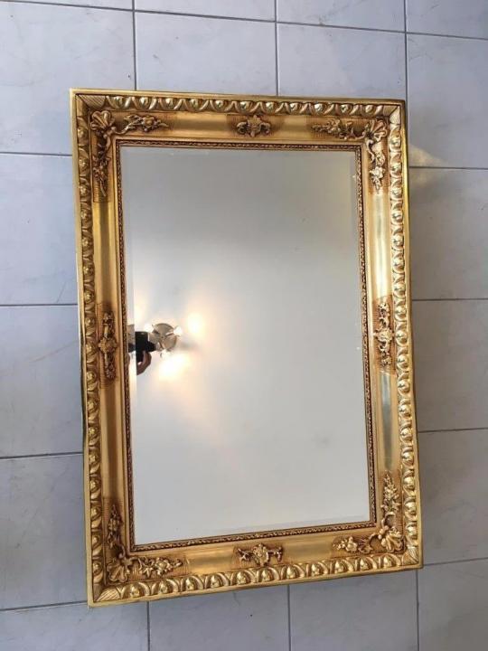 Biedermeier Ochsenaugen Spiegel Rahmen um 1845 23k vergoldet A1625 3