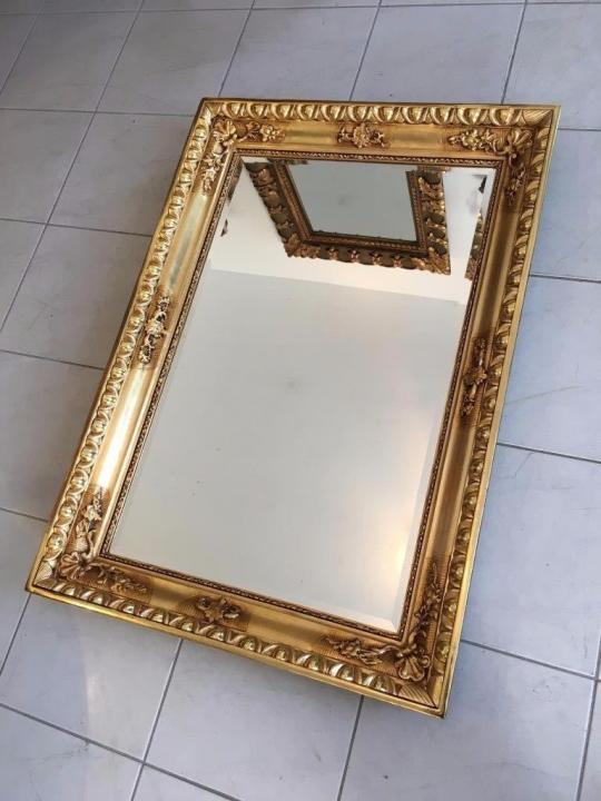 Biedermeier Ochsenaugen Spiegel Rahmen um 1845 23k vergoldet A1625 4