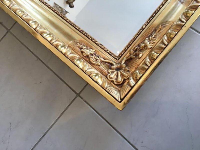 Biedermeier Ochsenaugen Spiegel Rahmen um 1845 23k vergoldet A1625 6