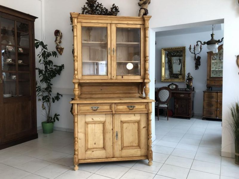Uriges Gründerzeit Küchenkredenz Küchenschrank Naturholz x1803