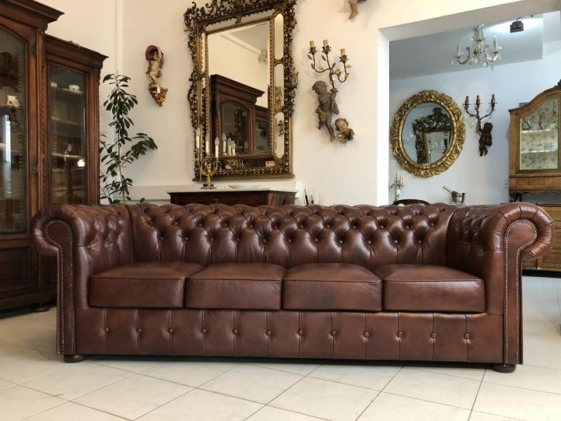 Chesterfield Clubsofa Diwan Couch Oxblood Antik Braun- X1172