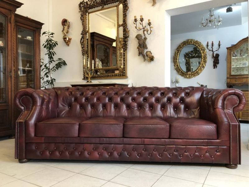 Chesterfield Clubsofa Diwan Couch Oxblood Antik Rot- X1173