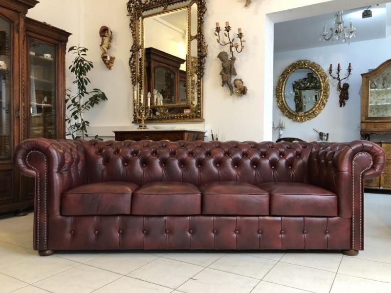 Chesterfield Clubsofa Diwan Couch Oxblood Antik Rot - X1180