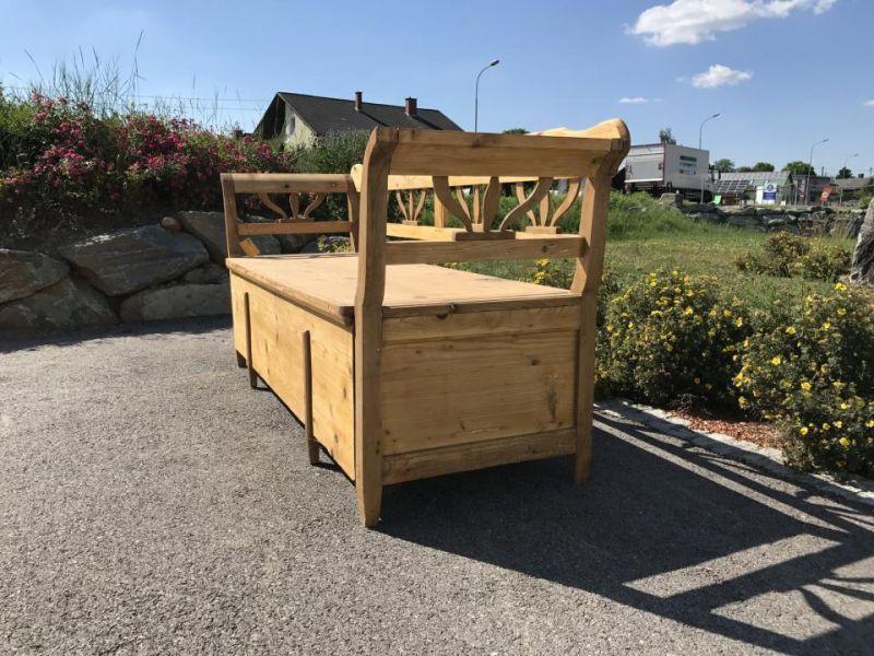 Urige Truhe Küchenbank Sitzbank Naturholz Fichte Bettbank - 6080