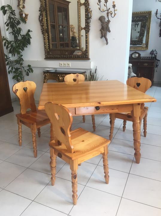 Urige Zirbenholz Bauerntisch 4 Sessel Sitzgruppe Bauernstube X1624