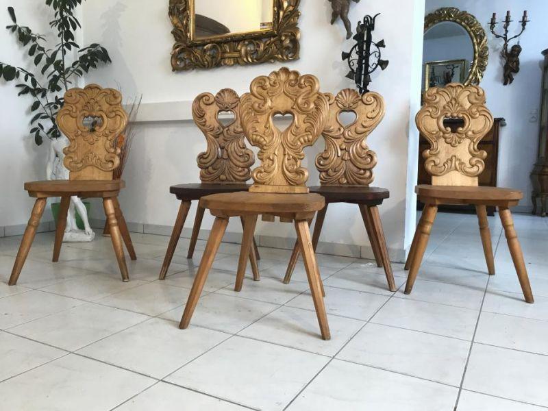 5 urige Bauernsessel Stuhl Sessel Bauernstube Barockmuster W3129
