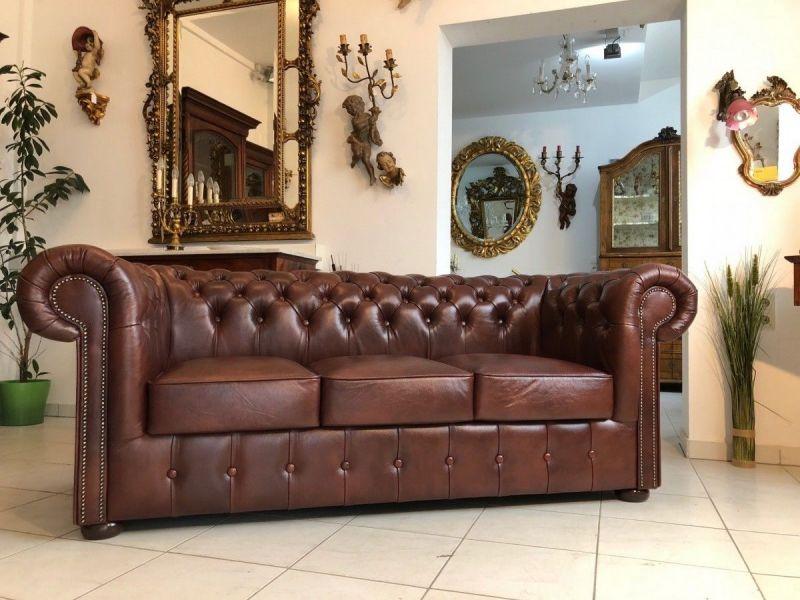 Chesterfield 3er Clubsofa Diwan Couch Oxblood Antik Braun -X1179